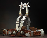 Fancy pair of double mounted, gal-leg Spurs by noted Compton, Arkansas Bit