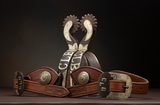 A fine pair of hand engraved, double mounted Spurs by the late Texas Bit an