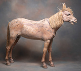 Very unique, early hand carved wooden Pony with straw mane and tail. Carved