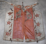 Fancy pair of two tone, spotted bat wing Chaps, has outside pockets with he
