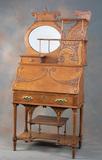 Fancy antique oak, Drop Front Desk, circa 1900s. This style desk was nickna