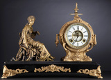 Antique figural Mantle Clock, manufactured by Ansonia Clock Co., New York,