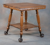Large Antique oak Lamp Table, circa 1900, with Tiffany style glassnball & c