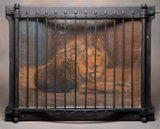 Antique Caged Lion representing another saloon game. Wooden caged frame mea