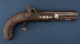 Early Percussion Belt Pistol with engraved lock and hammer, lock is marked