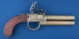 Over & Under Flintlock Belt Pistol with British markings, 3 1/2