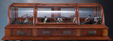 Beautiful triple curved glass, counter top / table top, Oak Showcase, manuf