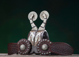 Pair of double mounted Spurs by noted Stinnett, Texas Bit and Spur Maker Ke