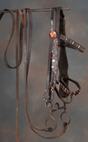 Very desirable Wild West spotted Bridle with leather Reins, spotted brow ba