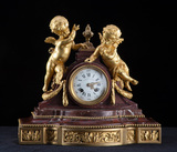 Beautiful French Mantle Clock, marble & Dore Bronze, circa 1900, porcelain