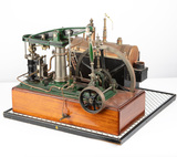Salesman's Sample, steam driven Iron Horse, mounted on wooden base that mea