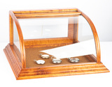 Unique curved glass, table top model Showcase, measures 20