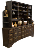 Antique two-piece Apothecary Wall Cabinet, with 32 storage drawers in base,