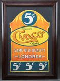 Framed Die Cut Cardboard Advertisement for Cinco Cigars.