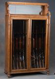 Beautiful antique oak, double door Gun Cabinet, circa 1900-1910, with colum