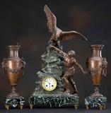 Beautiful three piece French Clock Set, key wind movement, hand painted por