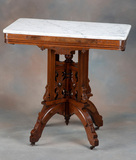 Beautiful antique, East Lake style Victorian Walnut, marble top Lamp Table,