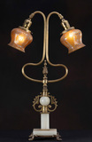 Unique, antique brass and onyx Table Lamp with original acid etched shades,