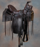 Early Half Seat Saddle with square skirt and Samstag Rig, 14
