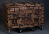 Early, hand made wooden Chest with double door front, with several metal st