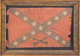Framed Confederate Flag, very fragile. Flag is marked