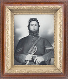 Early Charcoal Drawing of Soldier with sword in a beautiful Victorian oak a