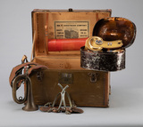 Early Traveling Case, and contents, marked