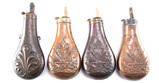 Four vintage Brass Powder Flasks, all are 6