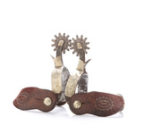 Pair of vintage McChesney Spurs, #102, single mounted with silver engraved