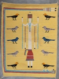 Pictorial YEI Rug with birds, measuring 24 1/2