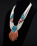 Beautiful Heishi Turquoise & Coral Necklace of Indian Design. Beautiful Wor