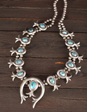 Silver and turquoise Squash Blossom Necklace with 12 turquoise inlaid tulip