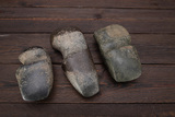 Three Stone Ax Heads, one measures 6