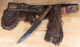 Unique, hand made leather fringed Belt Rig with fringed Scabbard and a hand