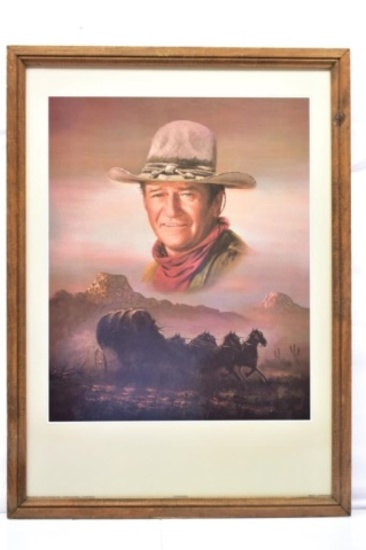 1980 John Wayne Framed Litho Art By Peter Shinn