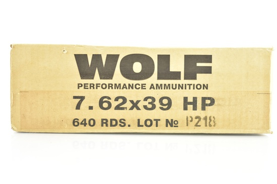 New Case Of Wolf 7.62X39 HP Ammunition - 640 Rounds