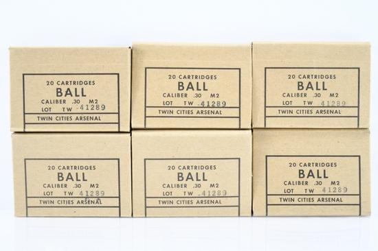 120 Rounds Of U.S. GI 30 M2 Ball (30-06 Springfield) Caliber Full Metal Jacket Ammo