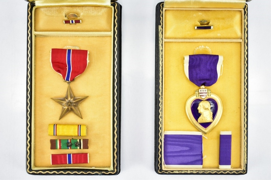 U.S. WWII Bronze Star & Purple Heart Medals - Sells Together