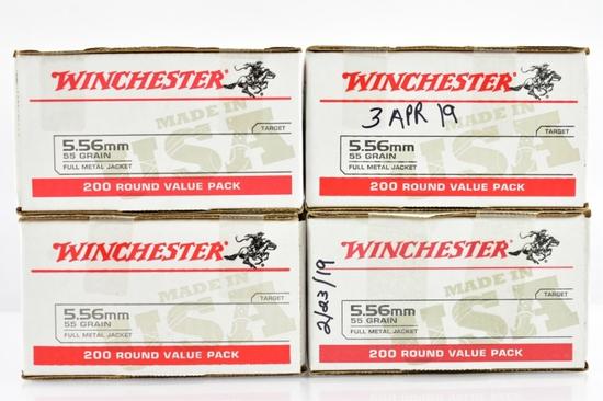 "800 Rounds Of Winchester 5.56 NATO/ 223 Rem. Caliber Ammo - ""USA White Box"""