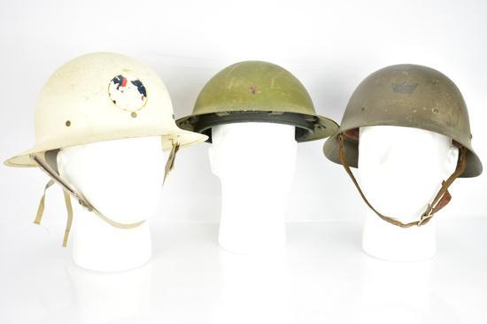 (3) WWII Helmets - U.S./ British/ Swedish - Sells Together