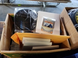 Box of manuals, filters, miscellaneous