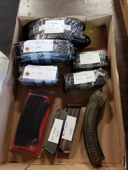Assorted magazines 3 - Ruger 10-22, 4-30 cal 30 round, 3-380,  3-15 round 30 cal, 2-Glock 10mm, 9 mm