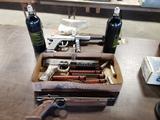 2 paintball guns, BB gun pistol, 2 bottles CO2