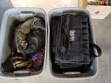 2 totes of bags and gloves