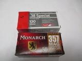 1 bx Aguila 38 special & 1 bx Monarch 357 magnum
