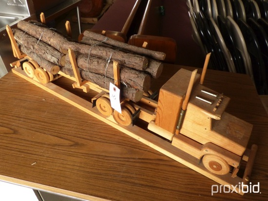ANTIQUE WOODEN LOG TRUCK & TRAILER