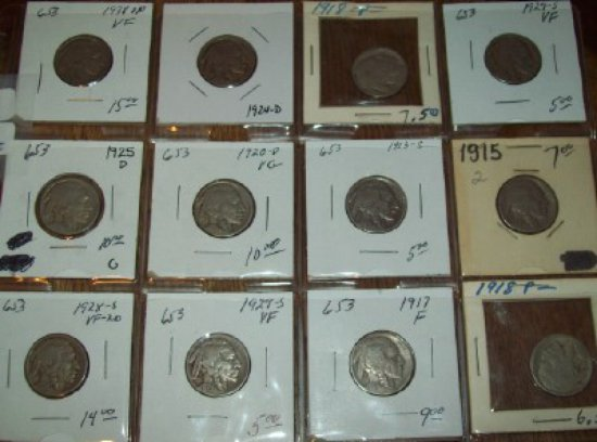 Lot of 20 Buffalo Nickels 1917, 1918, 1923-S, 1925-S, 1929 VF, 1915, 1924-D, 1928-S VF, 1929-S VF