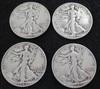 Lot of 4 Walking Liberty Silver Half Dollars 1942-S, 1944, 1945-D, 1946