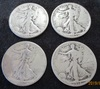 Lot of 4 Walking Liberty Silver Half Dollars  1918, 1944, 2-1945