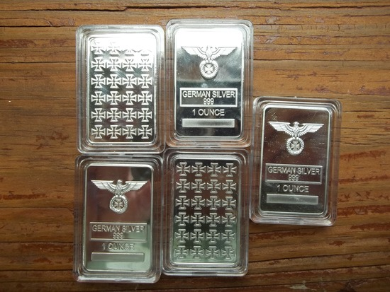 5 1 Ounce 999 German Silver Nazi German Bars In Protective Cases Swastika Eagle